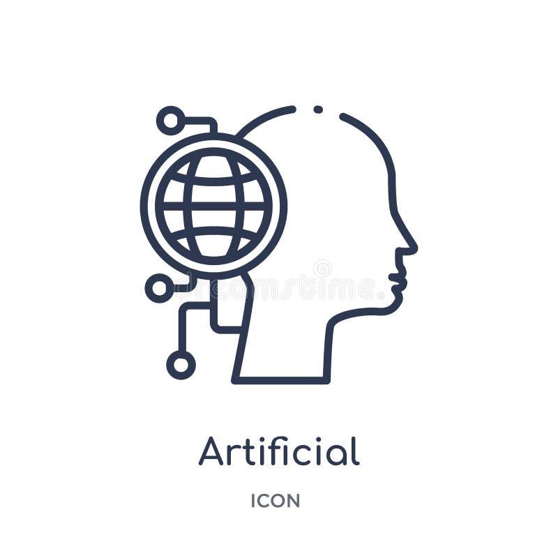 Icône artificielle linéaire de l'atmosphère d'intellegence artificiel et de future collection d'ensemble de technologie Ligne min illustration de vecteur