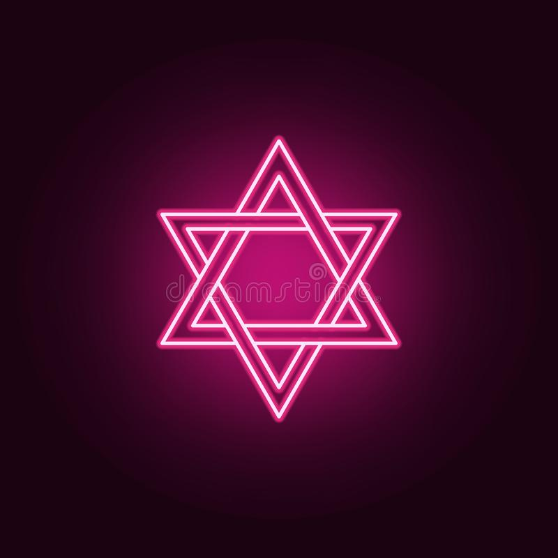 Icône au néon d'étoile de David ?l?ments d'ensemble de religion E illustration libre de droits