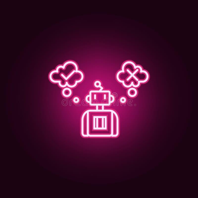 Icône au néon d'intelligence artificielle de décision Éléments d'ensemble d'intelligence artificielle Icône simple pour des sites illustration stock