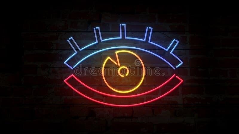 Icône au néon d'oeil sur l'illustration du mur de briques 3D illustration stock