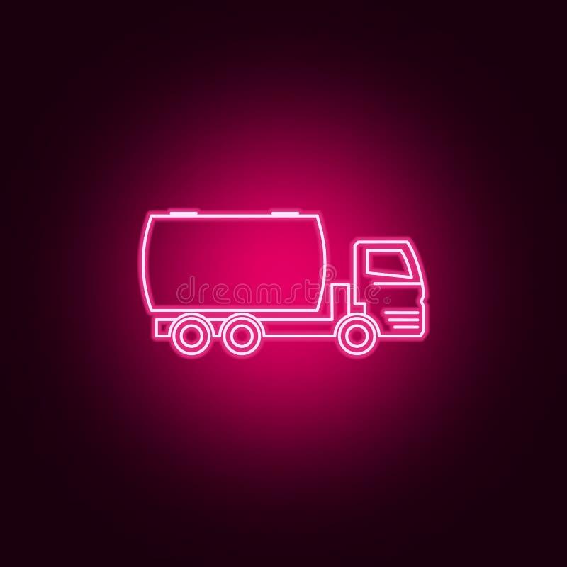 icône au néon de baril automatique de camion ?l?ments d'ensemble de transport E illustration libre de droits