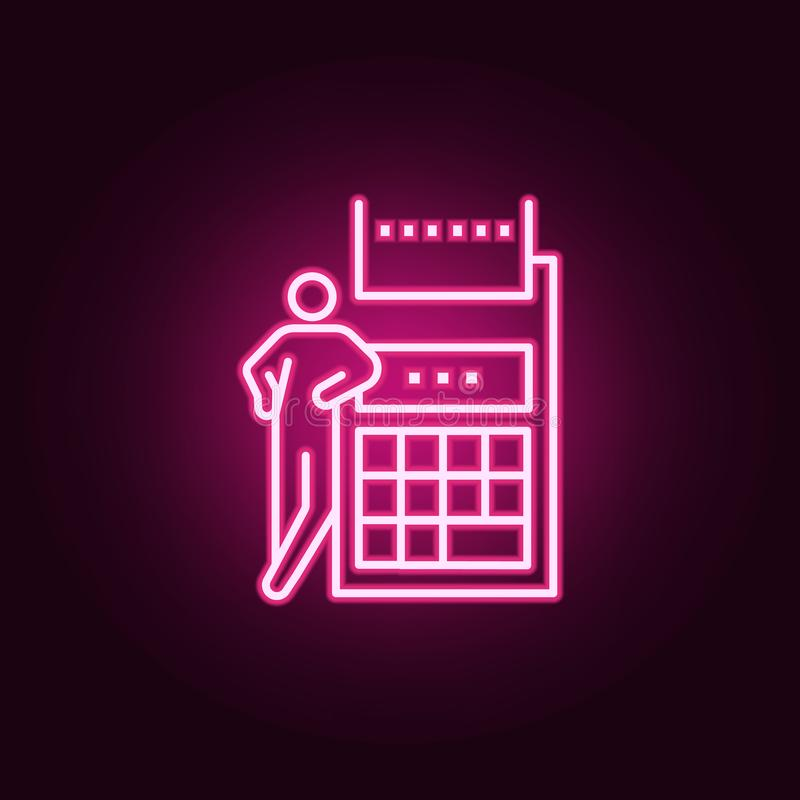 icône au néon de calculatrice d'affaires Éléments des figures conceptuelles réglées E illustration libre de droits