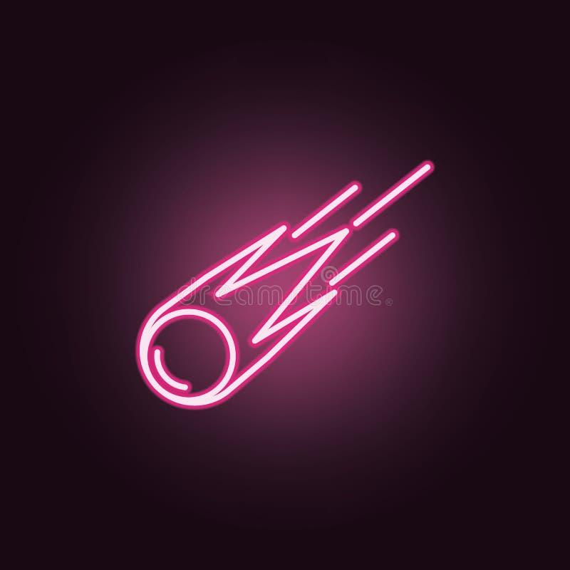 icône au néon de comète ?l?ments d'ensemble de l'espace E illustration stock