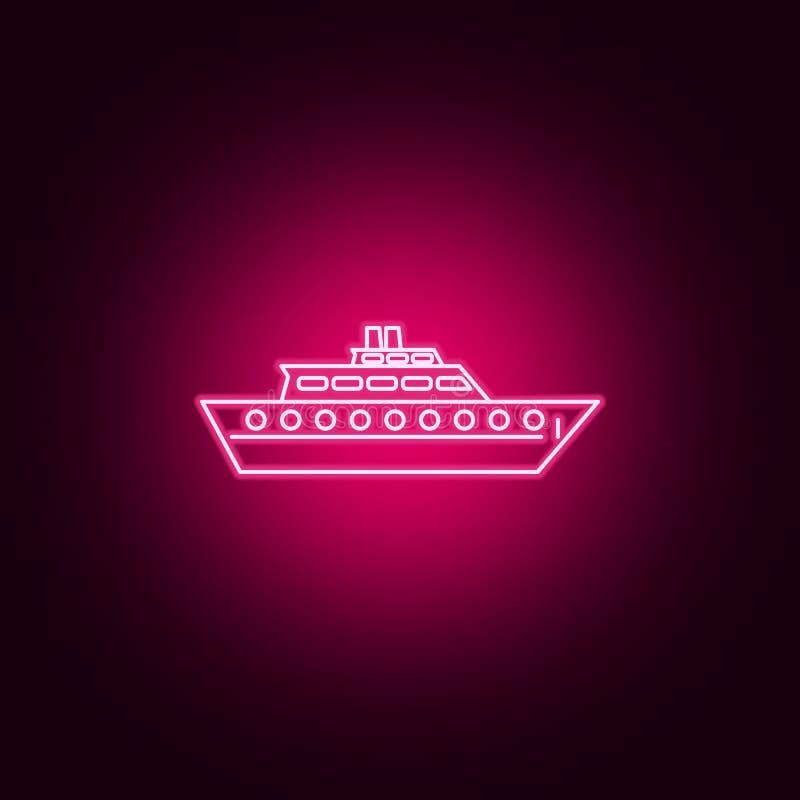 icône au néon de natation de yacht privé ?l?ments d'ensemble de transport E illustration stock
