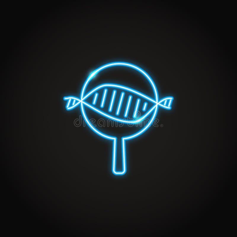 Icône au néon de recherches d'ADN dans la ligne style illustration de vecteur
