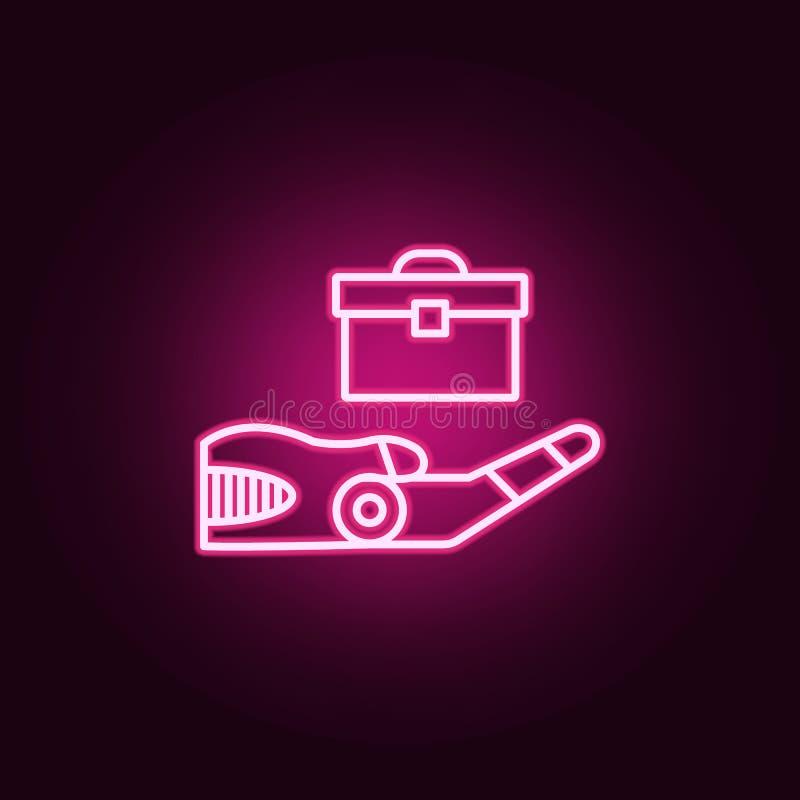 Icône au néon de technologie de mode sans échec Éléments d'ensemble d'intelligence artificielle E illustration de vecteur