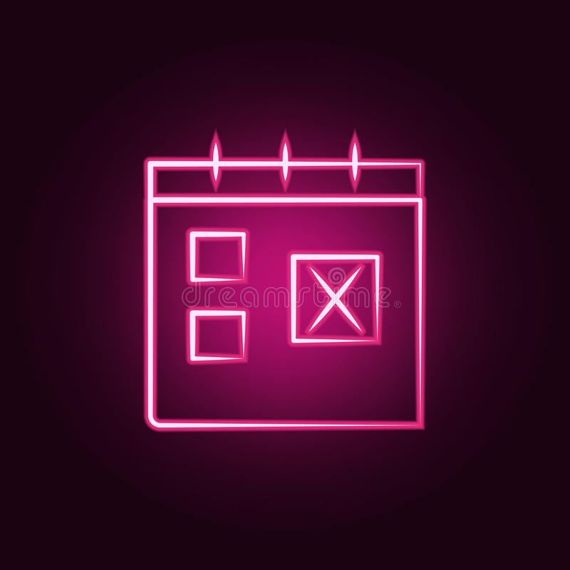 icône au néon de temps de déplacement de calendrier Éléments d'ensemble de voyage E illustration libre de droits