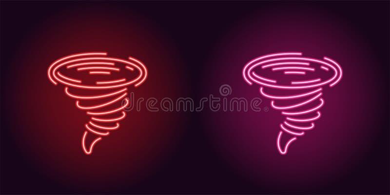 Icône au néon de tornade rouge et rose illustration libre de droits