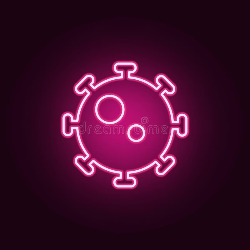 Icône au néon de virus ?l?ments d'ensemble de m?decine E illustration stock
