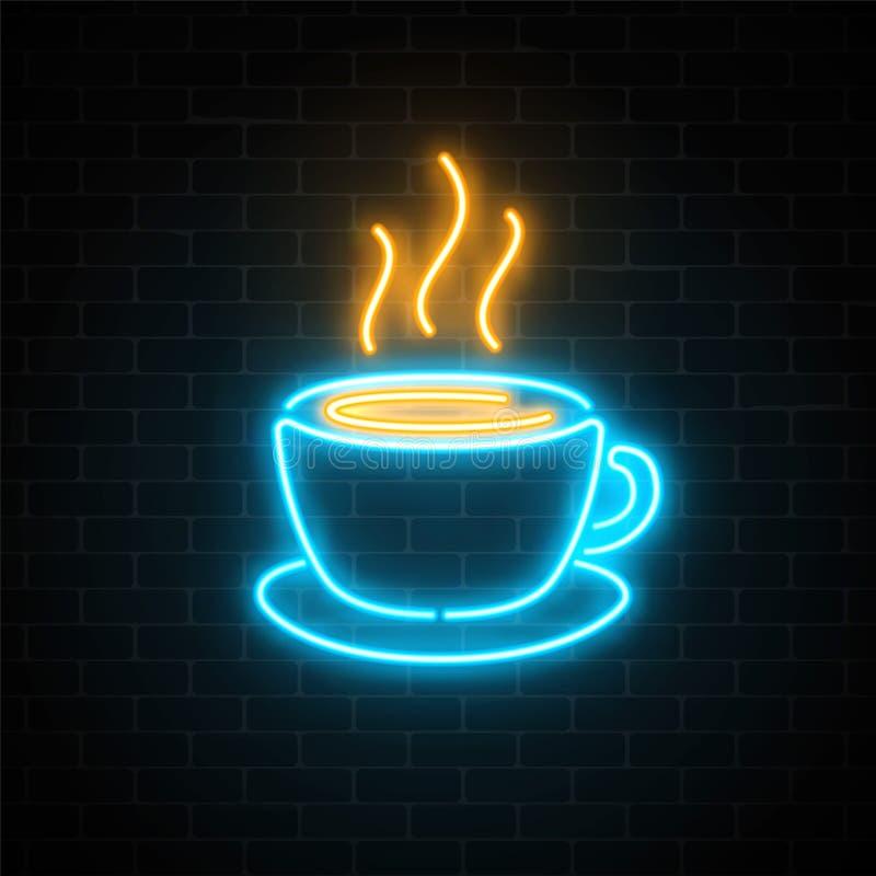 Icône au néon rougeoyante de tasse de café sur un fond foncé de mur de briques Signe chaud de boisson ou de café d'effet de la lu illustration de vecteur