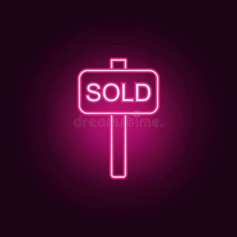 Icône au néon vendue de vecteur ?l?ments d'ensemble de Real Estate E illustration de vecteur