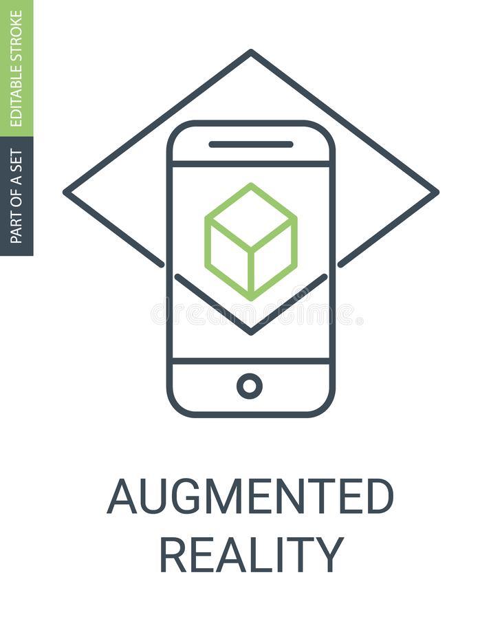 Icône augmentée d'ensemble de réalité avec la course Editable illustration stock