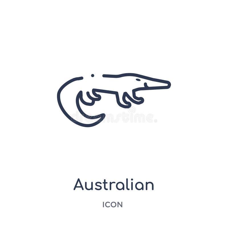 Icône australienne linéaire d'alligator de collection d'ensemble de culture Ligne mince vecteur australien d'alligator d'isolemen illustration stock
