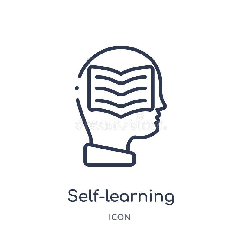 Icône autodidacte linéaire de collection d'ensemble d'Elearning et d'éducation Ligne mince vecteur autodidacte d'isolement sur le illustration libre de droits
