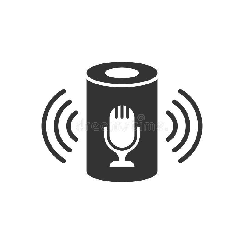 Icône auxiliaire de voix dans le style plat Illustration à la maison futée de vecteur d'aide sur le fond d'isolement blanc Affair illustration de vecteur