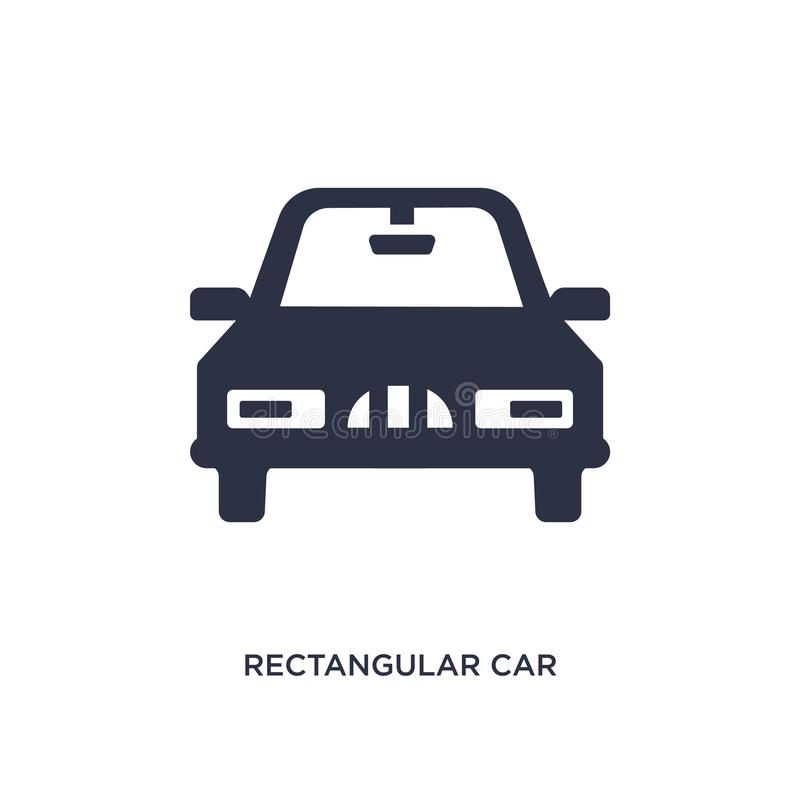 icône avant de voiture rectangulaire sur le fond blanc Illustration simple d'élément de concept de mechanicons illustration stock