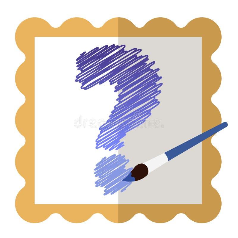Icône avec un cadre d'or avec un point d'interrogation bleu intérieur et une brosse bleue photographie stock libre de droits