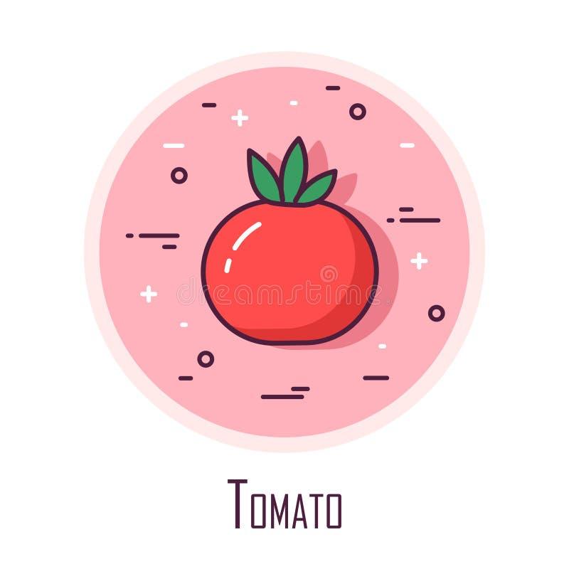 Icône avec une tomate à un arrière-plan rond de couleur Ligne mince conception plate Vecteur illustration de vecteur