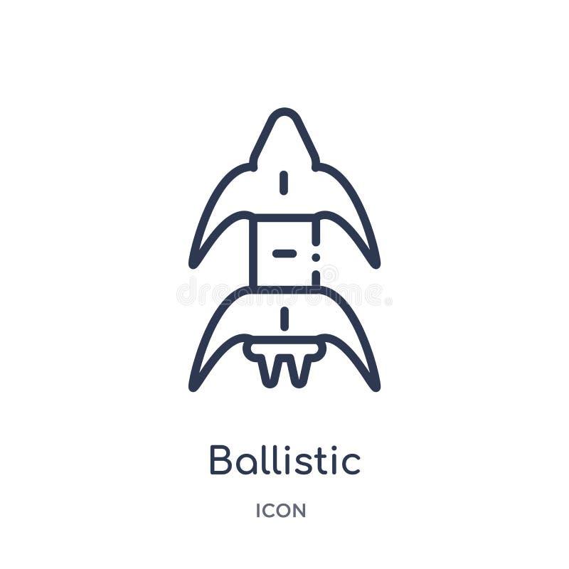 Icône ballistique linéaire de collection d'ensemble d'éducation Ligne mince icône ballistique d'isolement sur le fond blanc à la  illustration stock