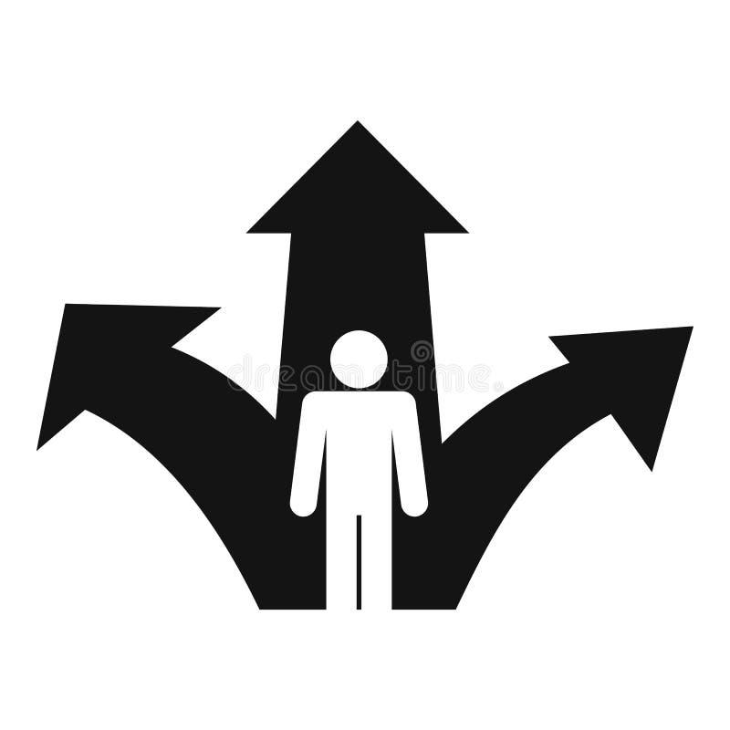 Icône bien choisie de décision de route, style simple illustration libre de droits