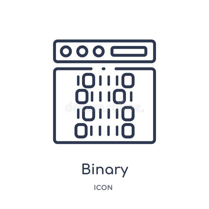 Icône binaire linéaire d'intellegence artificiel et de future collection d'ensemble de technologie Ligne mince vecteur binaire d' illustration de vecteur