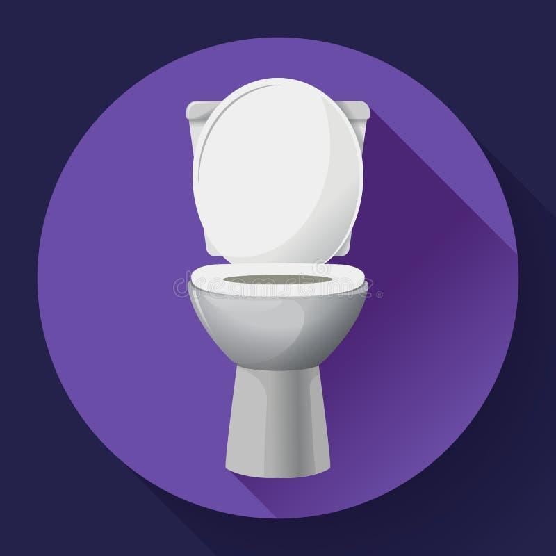 Icône blanche de cuvette des toilettes de vecteur de céramique toilette moderne dans le style plat Illustration de vecteur illustration libre de droits
