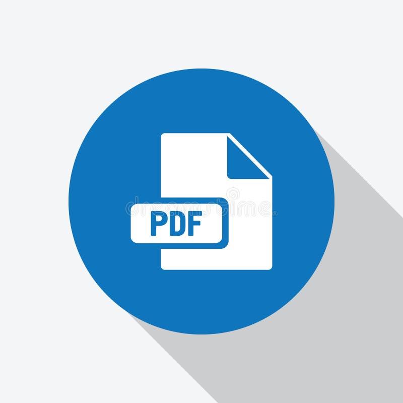 Icône blanche de dossier de pdf de téléchargement en cercle bleu illustration libre de droits