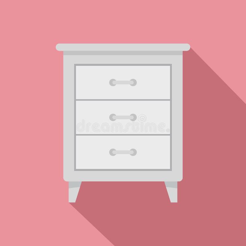 Icône blanche de nightstand, style plat illustration de vecteur