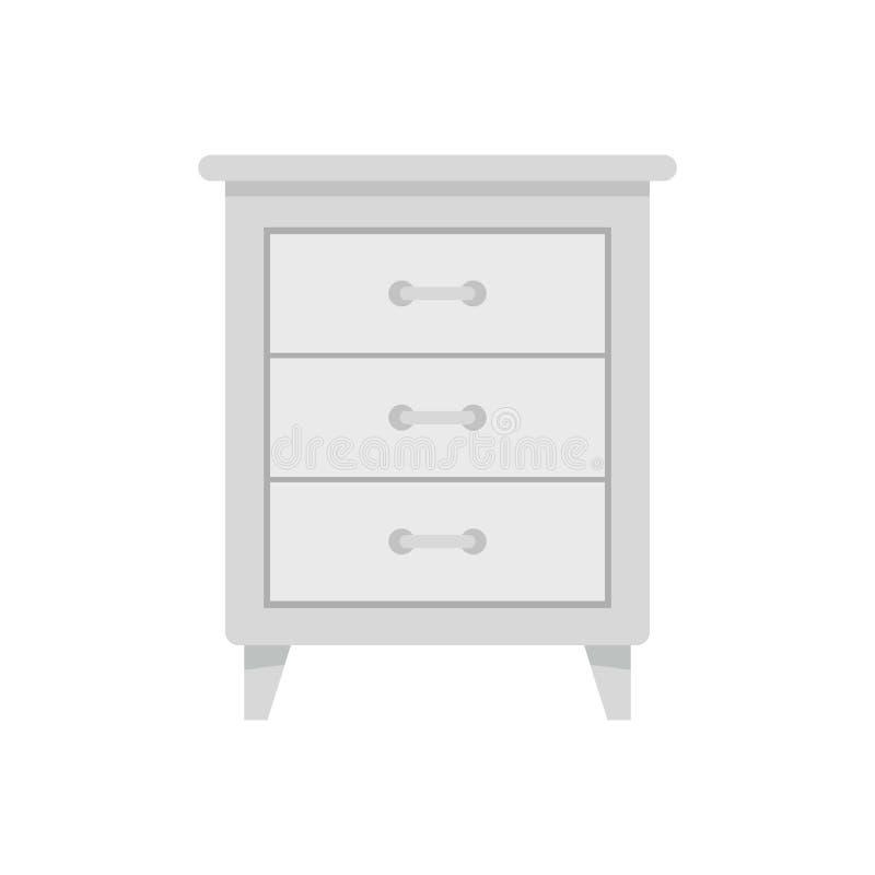 Icône blanche de nightstand, style plat illustration libre de droits