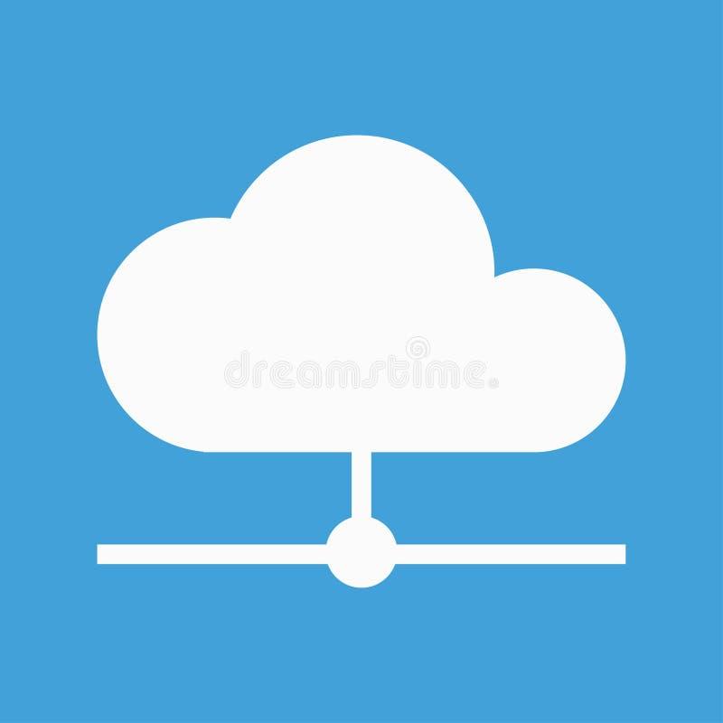 Icône blanche de nuage pour le stockage de sauvegarde d'Internet illustration stock