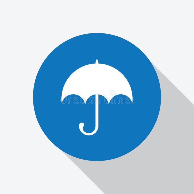 Icône blanche de parapluie en cercle bleu avec l'ombre illustration libre de droits