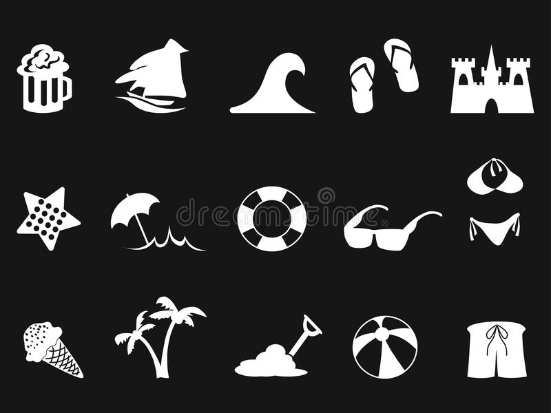 Icône blanche de plage réglée sur le fond noir illustration de vecteur