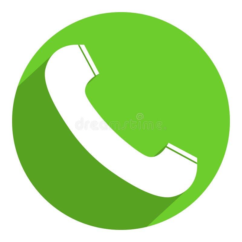 Icône blanche de récepteur de téléphone sur le fond rond vert illustration libre de droits