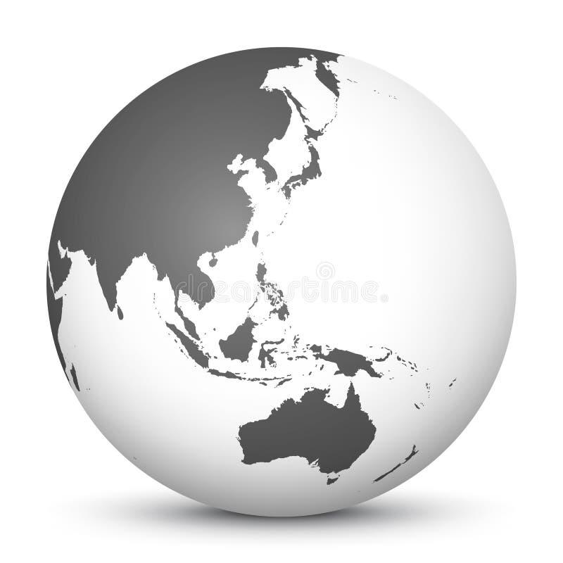 Icône blanche du globe 3D avec Gray Continents Foyer sur l'Australie, Ja illustration stock