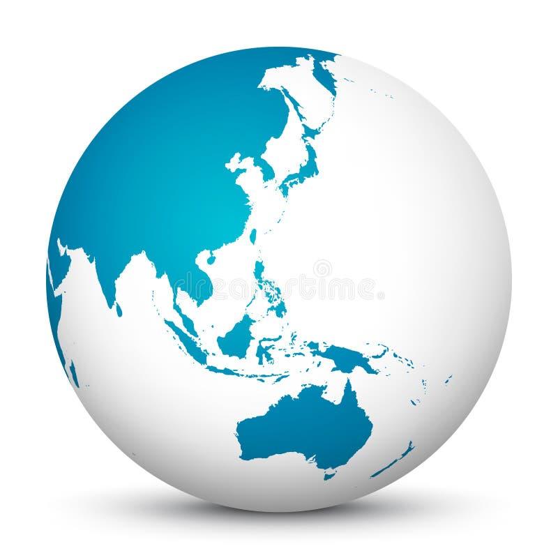 Icône blanche du globe 3D avec les continents bleus Foyer sur l'Australie, Ja illustration de vecteur