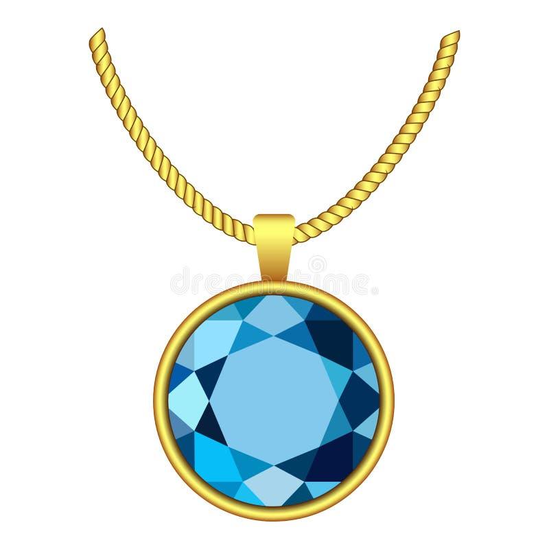 Icône bleu vert de collier, style réaliste illustration stock