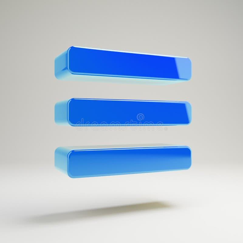 Icône bleue brillante volumétrique de barres d'isolement sur le fond blanc illustration libre de droits