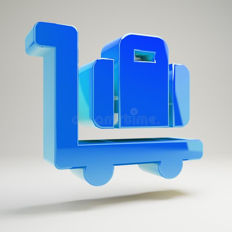 Icône bleue brillante volumétrique de chariot de bagage d'isolement sur le fond blanc illustration de vecteur