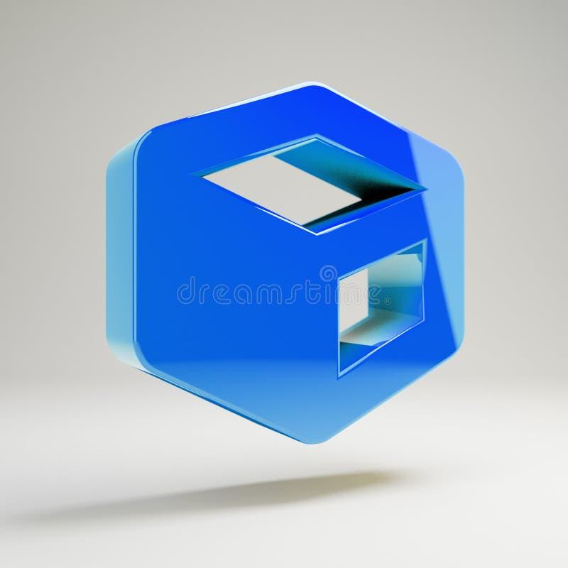 Icône bleue brillante volumétrique de cube d'isolement sur le fond blanc illustration stock