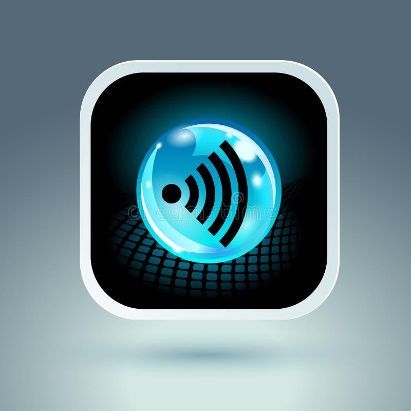 Icône bleue d'appli de symbole de Wifi illustration stock