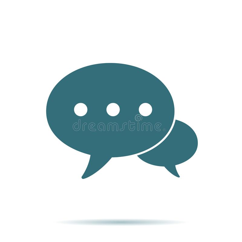 Icône bleue de bulle de la parole d'isolement Pictogramme plat de contactez-nous moderne, affaires, vente, Internet Co illustration de vecteur
