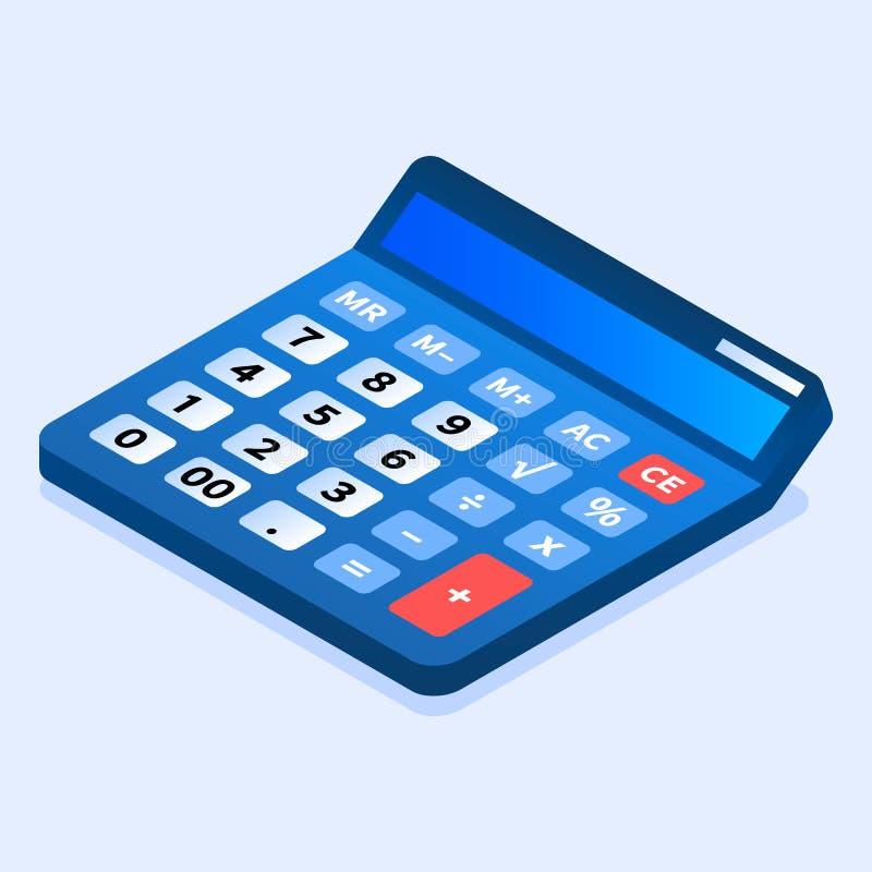 Icône bleue de calculatrice, style isométrique illustration de vecteur