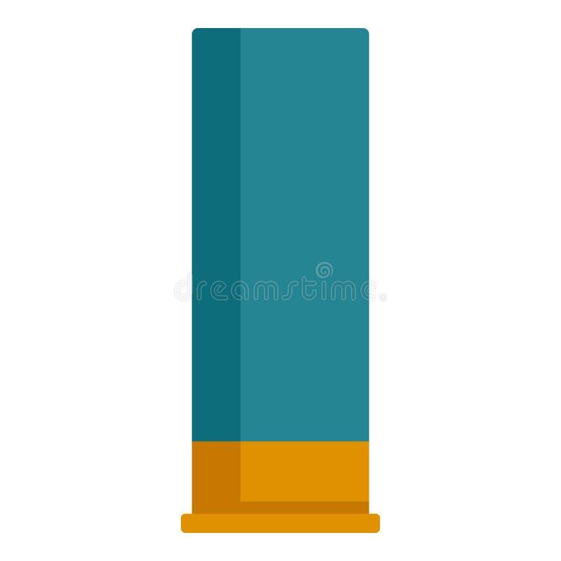 Icône bleue de cartouche de fusil de chasse, style plat illustration stock