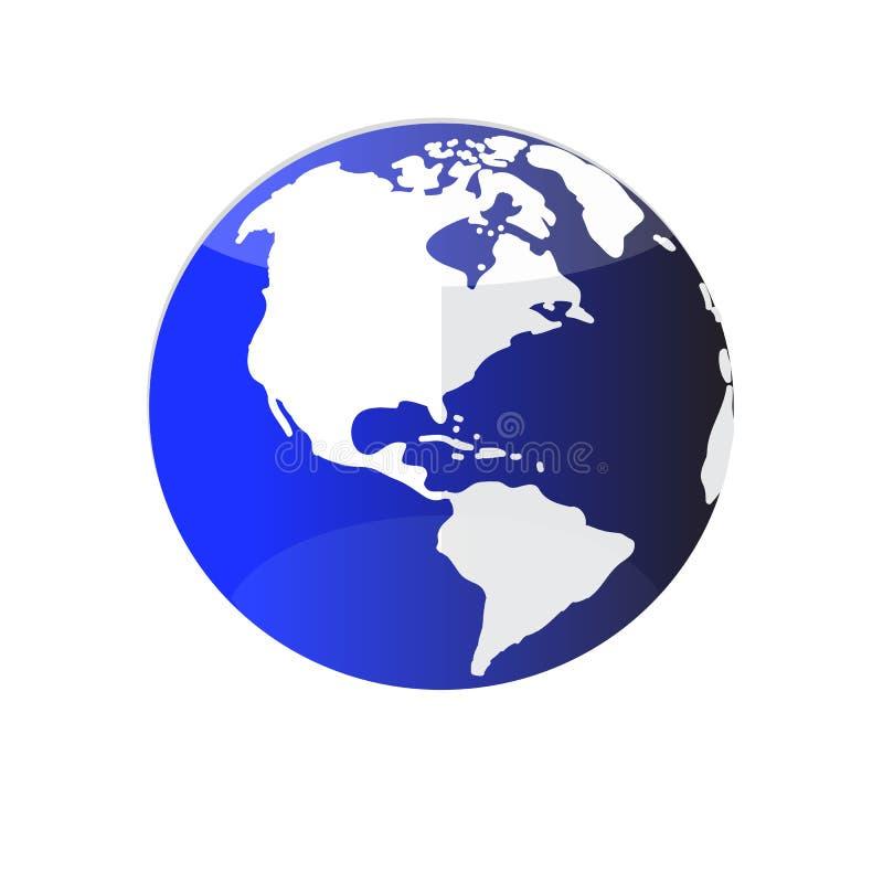 Icône bleue de la terre ou du globe t de planète de couleur, d'isolement sur le fond blanc illustration libre de droits