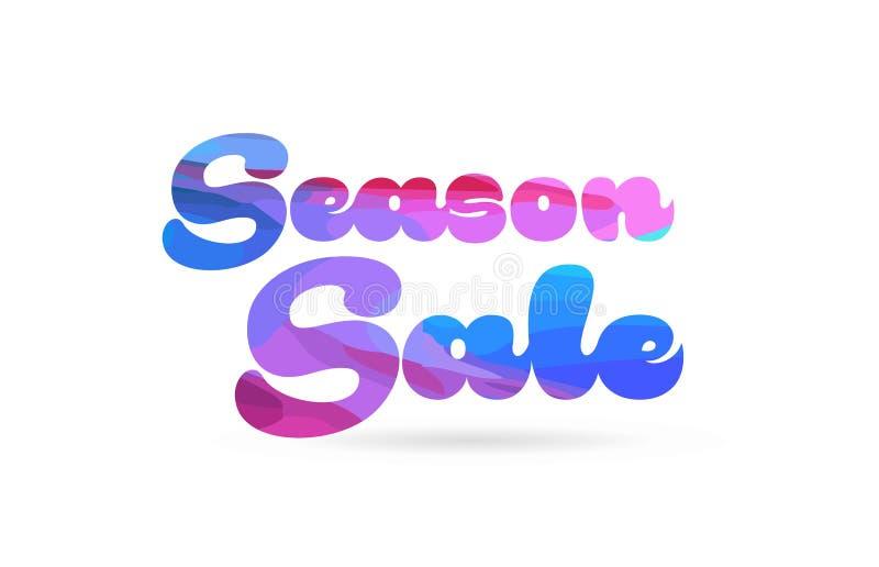 icône bleue de logo des textes de mot de couleur de rose de vente de saison illustration de vecteur