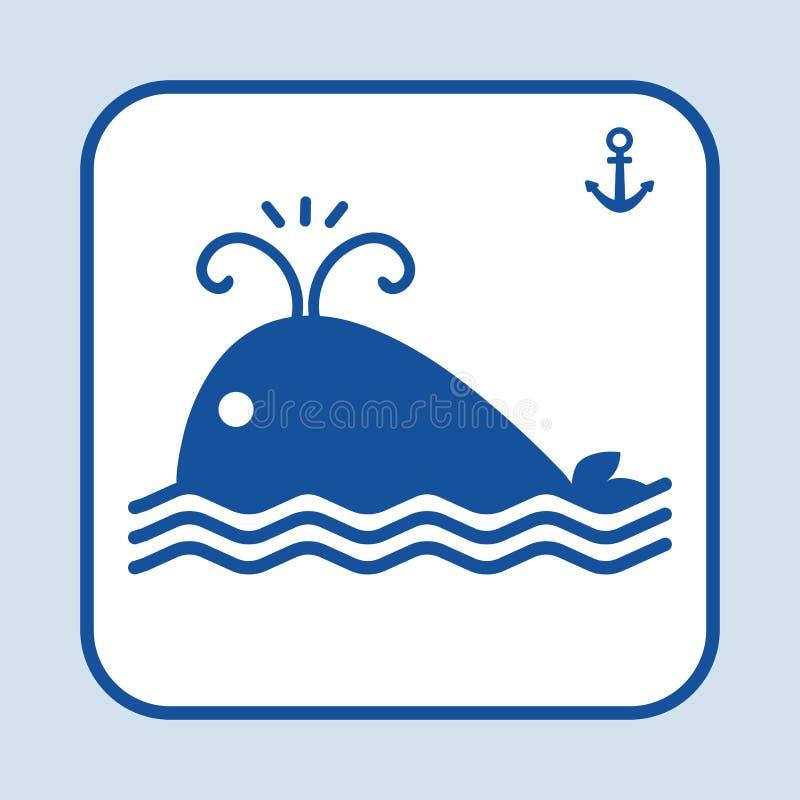 Icône bleue de poissons Natation de baleine dans la mer ou l'océan Ancre de signe Thème marin Illustration de vecteur illustration libre de droits