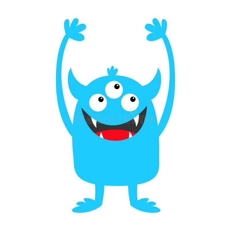 Icône bleue de silhouette de monstre Trois yeux, croc de dents, klaxons, huent des mains  Caract?re dr?le de bande dessin?e migno illustration libre de droits