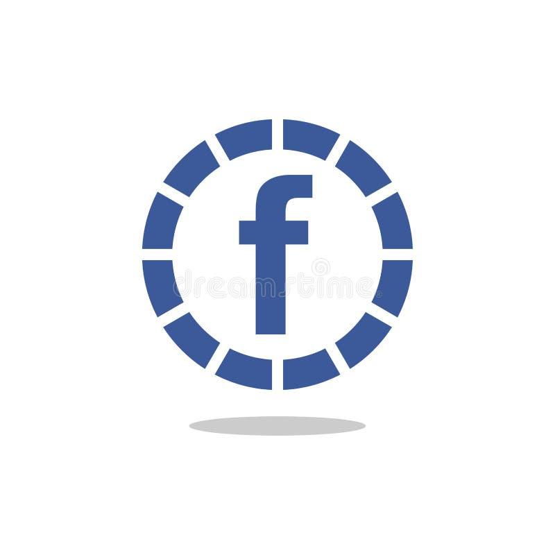 Icône bleue de vecteur de cercle de la lettre f illustration stock