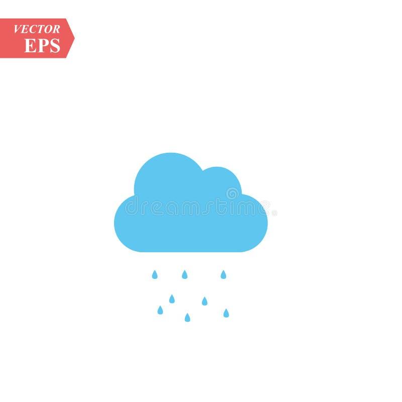 Icône bleue de vecteur de nuage de pluie Prévisions météorologiques illustration de vecteur