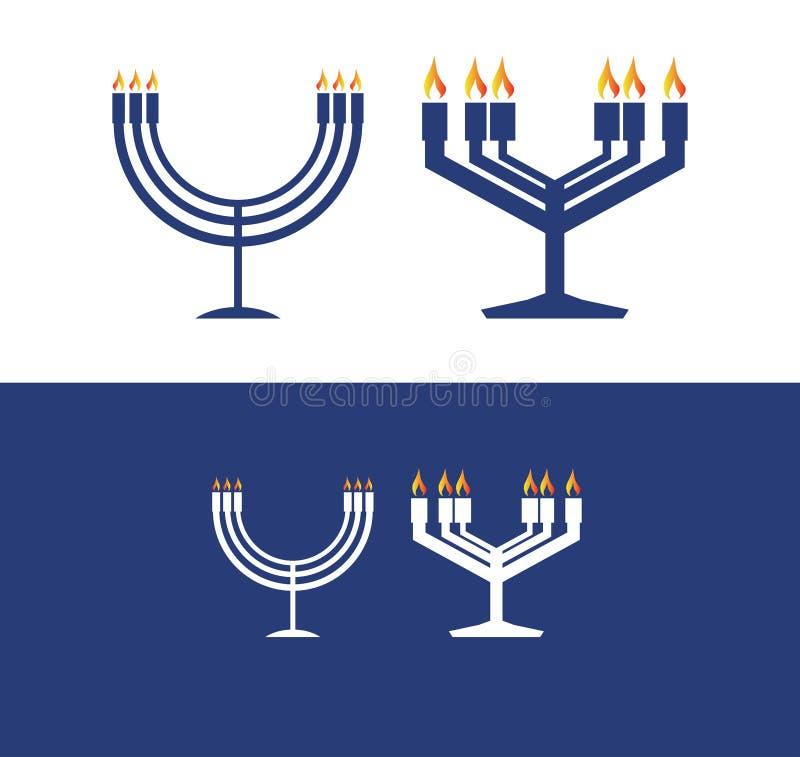 icône bleue du menorah 2 pour célébrer le jour de Hanoucca illustration stock